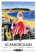 Scarborough Spa & Castle, Yorkshire. Vintage BR Travel poster. 1959